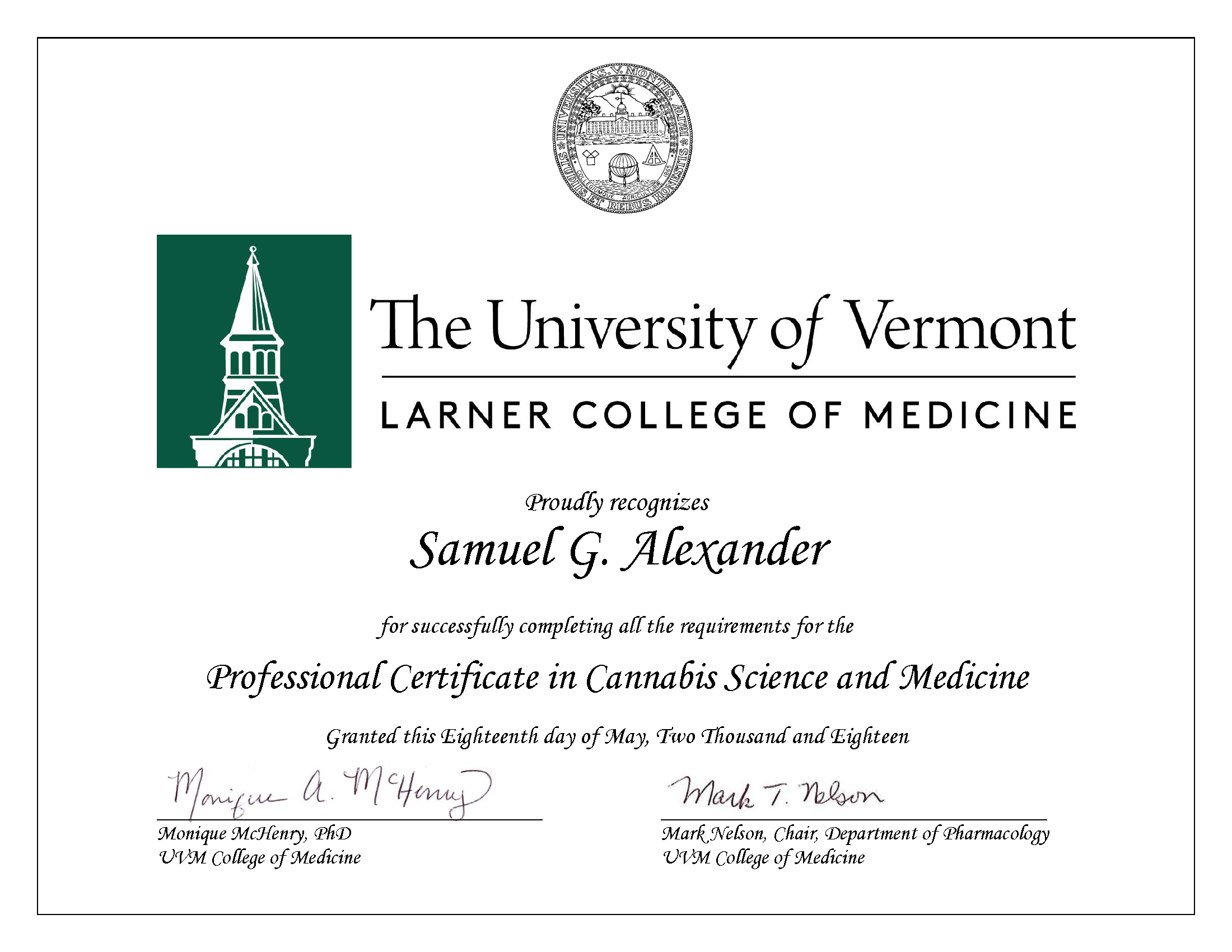 Medical Cannabis Certificate